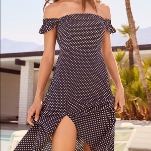 Lulus navy blue polka dot dress